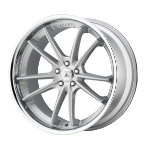 ASANTI DELTA 22x9 5x120.00 BRUSHED SILVER W/ CHROME LIP (32 mm)