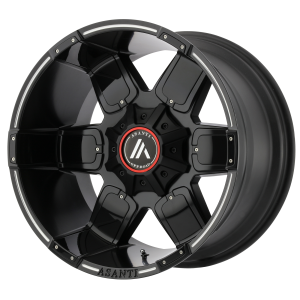 ASANTI WARTHOG 20x9 8x165.10 SATIN BLACK MILLED W/ GLOSS BLACK ACCENTS (-12 mm)  AB811-20908012NBM