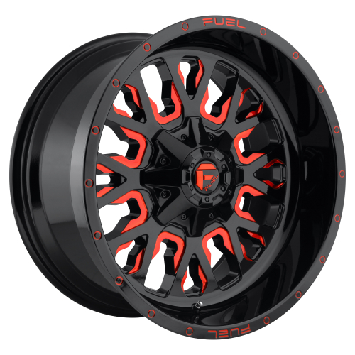FUEL STROKE 22x12 8x180.00 GLOSS BLACK RED TINTED CLEAR (-44 mm)