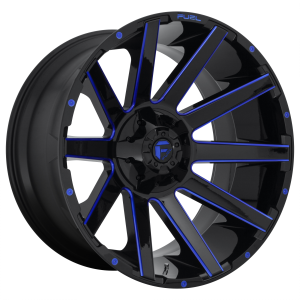 FUEL CONTRA 24x14 8x180.00 GLOSS BLACK BLUE TINTED CLEAR (-75 mm)