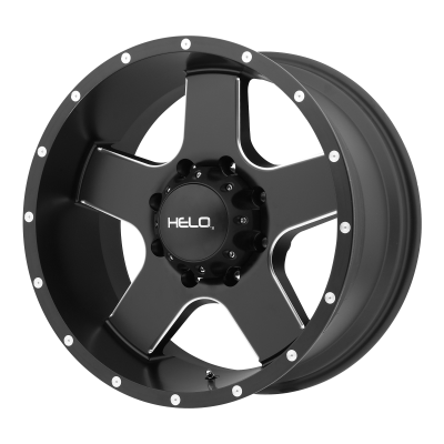 HELO HE886 18x9 8x165.10 SATIN BLACK W/ MILLED SPOKES & FLANGE (18 mm)  HE88689080718