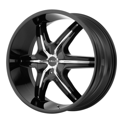 HELO HE891 20x8.5 6x135.00/6x139.70 GLOSS BLACK W/ GLOSS BLACK AND CHROME ACCENTS (35 mm)