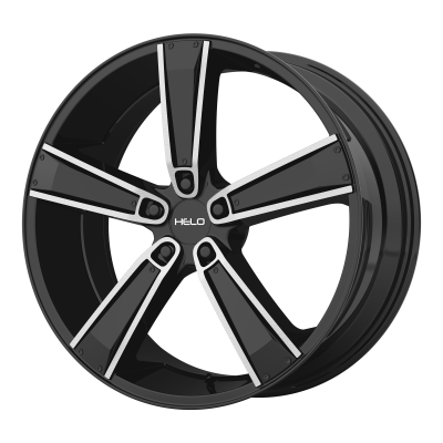 HELO HE899 17x7 5x120.00 SATIN BLACK MACH W/ GLOSS BLACK & CHROME INSERTS (38 mm)