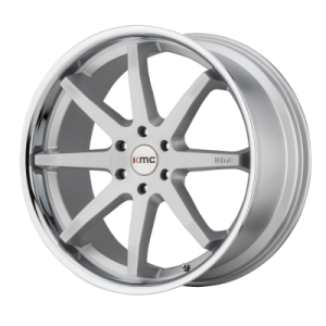 KMC REVERB 20x9 6x139.70 BRUSHED SILVER W/ CHROME LIP (30 mm)