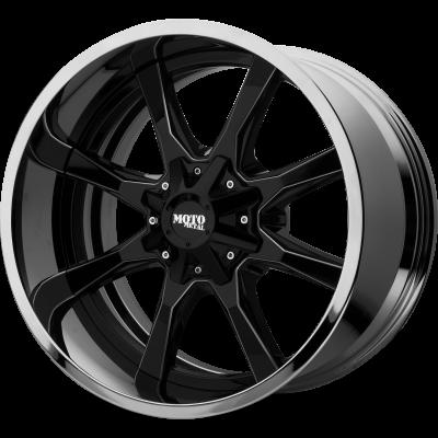 MOTO METAL MO201 22x12 8x180.00 GLOSS BLACK MILLED CENTER W/ CHROME LIP (-44 mm)