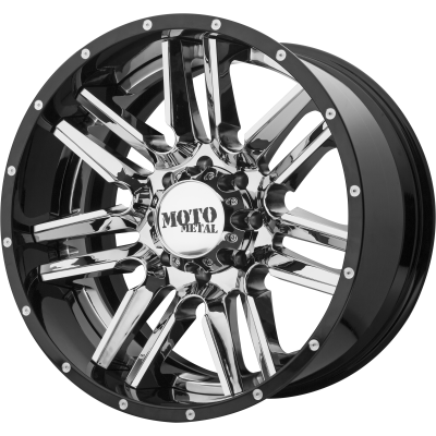 MOTO METAL MO202 22x10 8x170.00 CHROME CENTER W/ GLOSS BLACK MILLED LIP (-18 mm)