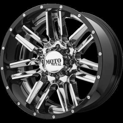 MOTO METAL MO202 22x10 8x170.00 CHROME CENTER W/ GLOSS BLACK MILLED LIP (-18 mm)