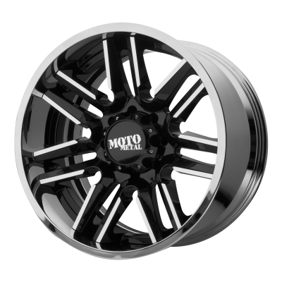 MOTO METAL MO202 22x12 8x180.00 GLOSS BLACK MACHINED CENTER W/ CHROME LIP (-44 mm)