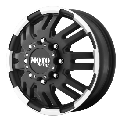 MOTO METAL MO963 DUALLY 17x6 8x165.10 MATTE BLACK MACHINED DUALLY - FRONT (111 mm)  MO96376080799