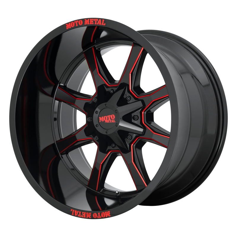 MOTO METAL MO970 20x9 8x180.00 GLOSS BLACK MILLED W/ RED TINT & MOTO METAL ON LIP (0 mm)
