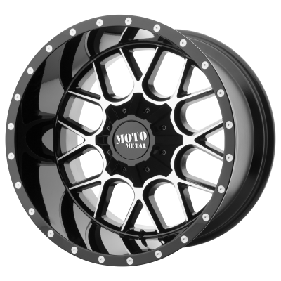 MOTO METAL SIEGE 20x9 8x180.00 GLOSS BLACK MACHINED (18 mm)