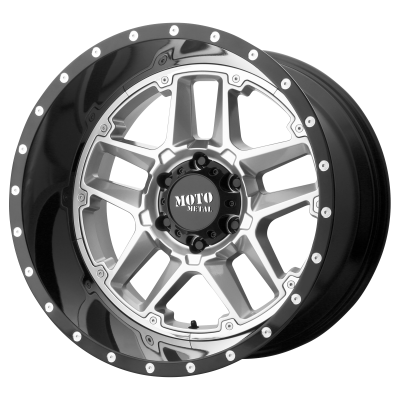 MOTO METAL SENTRY 20x9 8x180.00 GLOSS SILVER CENTER W/ GLOSS BLACK LIP (0 mm)