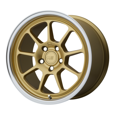 MOTEGI MR135 18x9.5 5x114.30 GOLD CENTER W/ MACHINED LIP (45 mm)