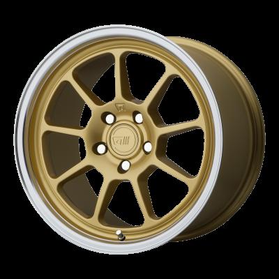 MOTEGI MR135 18x9.5 5x114.30 GOLD CENTER W/ MACHINED LIP (45 mm)