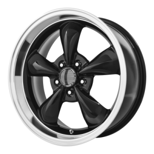 OE CREATIONS 106A 17x8 5x120.65 GLOSS BLACK W/ MACHINED LIP (0 mm)