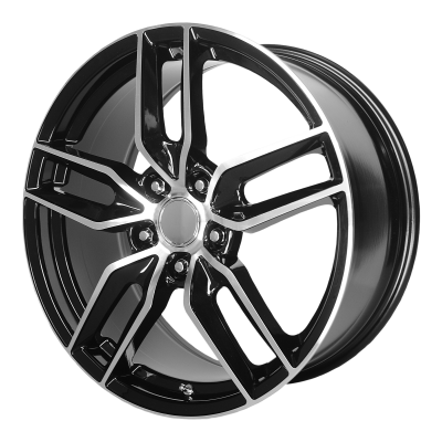 OE CREATIONS PR160 19x8.5 5x120.65 GLOSS BLACK W/ MACHINED SPOKES (56 mm)
