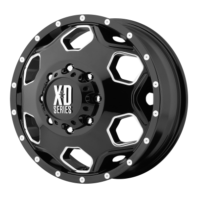 XD BATALLION 22x8.25 8x210.00 DUALLY GLOSS BLACK W/ MILLED ACCENTS (-175 mm)