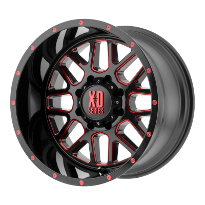 XD GRENADE 20x12 8x170.00 SATIN BLACK MILLED W/ RED TINTED CLEAR COAT (-44 mm)