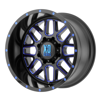 XD GRENADE 20x10 8x170.00 SATIN BLACK MILLED W/ BLUE TINTED CLEAR COAT (-24 mm)