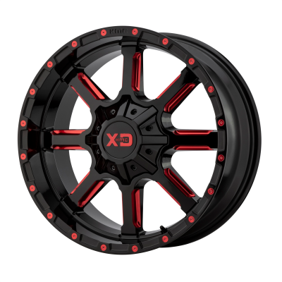 XD MAMMOTH 20x9 8x180.00 GLOSS BLACK MILLED W/ RED TINT (18 mm)