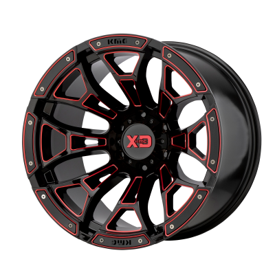 XD BONEYARD 20x10 8x170.00 GLOSS BLACK MILLED W/ RED TINT (-18 mm)