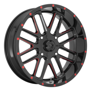 MSA BANDIT 22x7 4x156.00 GLOSS BLACK MILLED W/ RED TINT (0 mm)  M35-022756R